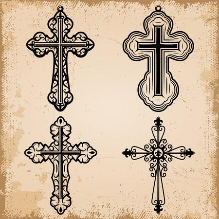 Ensemble de croix religieuses décoratives vintage de formes différentes sur fond de papier parchemin isolé illustration vectorielle