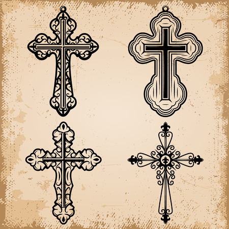 Vintage decorative religious crosses set of different shapes on old parchment paper background isolated vector illustration