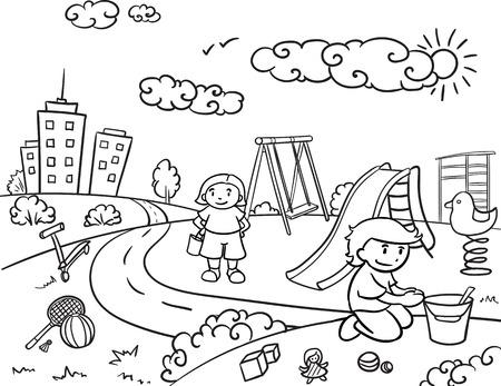 아이들이 놀이터 명소에서 연주하고 재미있는 장비 벡터 일러스트와 함께 스케치 어린이 활동적인 야외 레크리에이션 개념