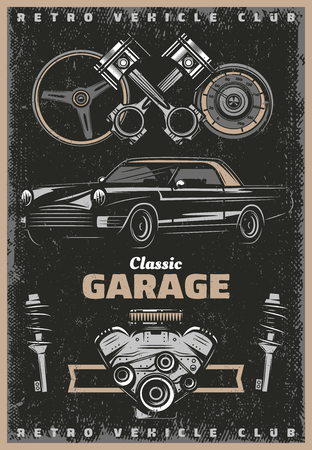 Vintage colored classic garage service poster with retro car engine pistons steering wheel shock absorbers vector illustration Illustration