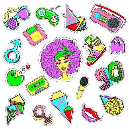 Comic 90s style elements set with colorful patches fashion pins and badges isolated vector illustration