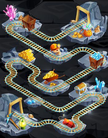 Isometric mining game level template with railroad gold minerals chest helmet dynamite lantern pick trolleys wheelbarrow vector illustration