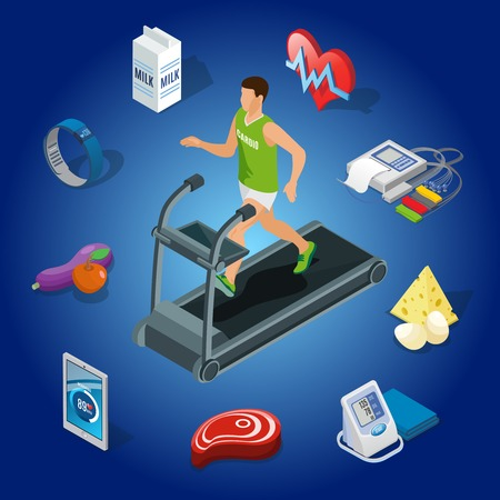 Isometric healthy lifestyle concept with man running on treadmill organic food medical diagnostic equipment modern devices isolated vector illustration
