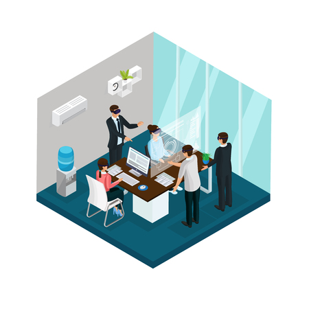 Isometric business innovations concept with people working in office and wearing virtual reality masks isolated vector illustration