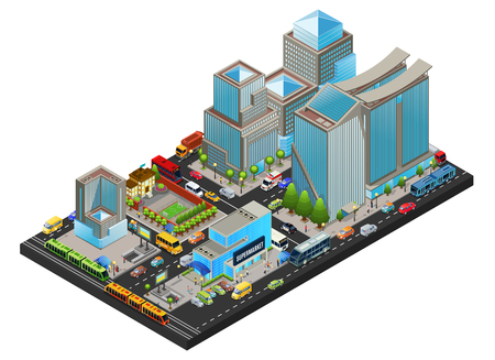 Isometric modern cityscape concept with office living supermarket school buildings public transport people metro station isolated vector illustration