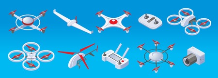Isometric modern drones set with two three four six propellers drones remote control and camera isolated vector illustration Stock Illustratie