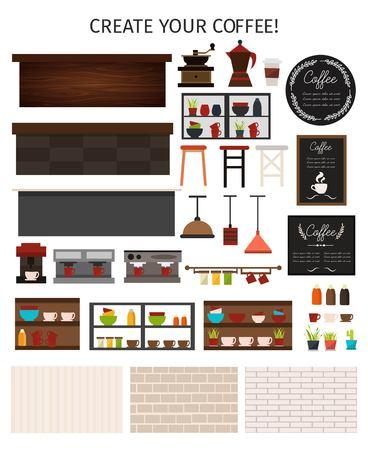 De vlakke koffie binnenlandse die elementen met van de de lampenlampen van de lijst tegenkoffie machines het menuplanken worden geplaatst planten muren geïsoleerde vectorillustratie