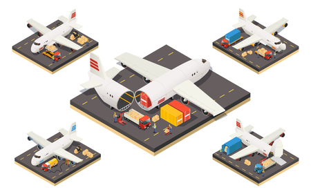 Isometric aircraft logistics concept with workers cargo and different variants of plane loading isolated vector illustration Illusztráció