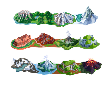 Beautiful mountain landscapes set with different types of peaks volcanoes rocks and mounts isolated vector illustration