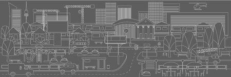 Linear urban landscape template with city transport plants municipal buildings skyscrapers cranes helicopter in gray colors vector illustration