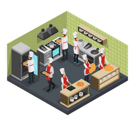 Isometric restaurant kitchen design illustration Vectores