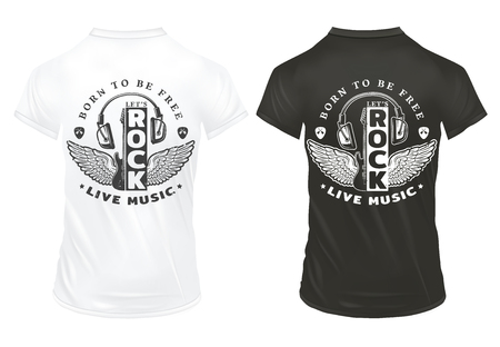 Vintage rock music print template with inscriptions guitar mediators headphones wings on black and white shirts isolated vector illustration Vetores