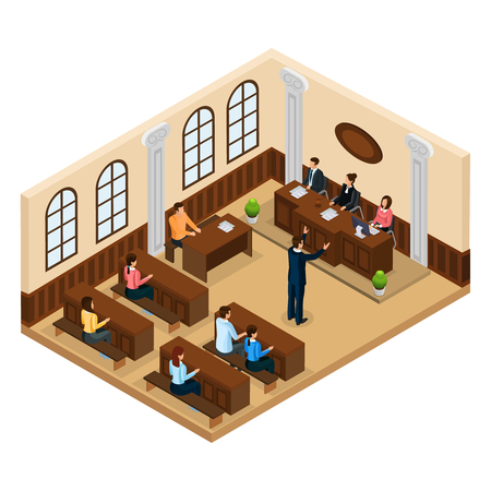 Isometric judicial system concept with lawyer defending his client in courtroom isolated vector illustration