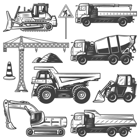 Vintage construction machines set with bulldozers excavator crane building concrete mixer and dump trucks isolated vector illustration Stock Illustratie