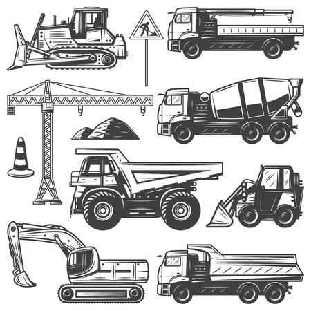 Zabytkowe maszyny budowlane z dźwigiem koparki spychaczy budują betoniarki i wywrotki na białym tle ilustracji wektorowych
