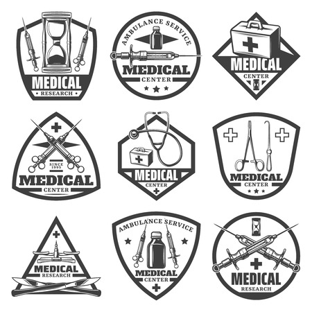 Vintage monochrome medical labels set with hourglass doctor bag syringe stethoscope bottle scales surgical tools isolated vector illustration Illusztráció