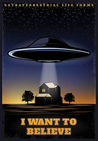 Vintage colored UFO Template with extraterrestrial spaceship abducting human from house vector illustration