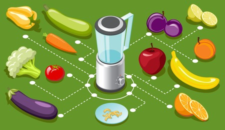 Isometric healthy food concept with blender vector illustration