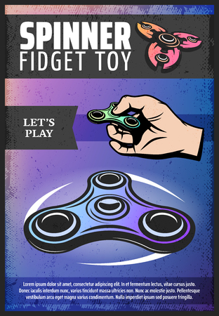 Vintage colored modern spinner poster with hand rotating and rolling popular trendy fidget toy.
