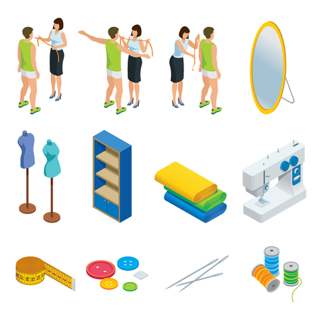 Isometric tailoring elements set with taking measurements process mirror mannequin shelf cloth sewing machine measuring tape buttons needles spool isolated vector illustration