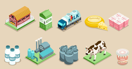 Isometric dairy factory elements set with farm packaging bottles cans milk products cow plant truck isolated vector illustration Illustration