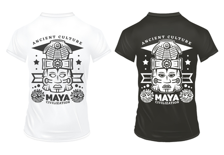 Vintage maya civilization prints template with inscriptions and tribal ceremonial masks on black and white shirts isolated vector illustration