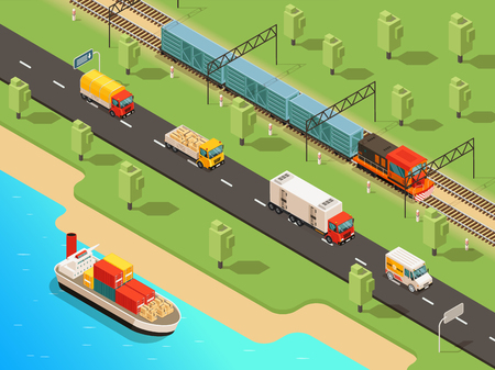Isometric logistic transportation concept with ship trucks van and freight train transporting different goods vector illustration