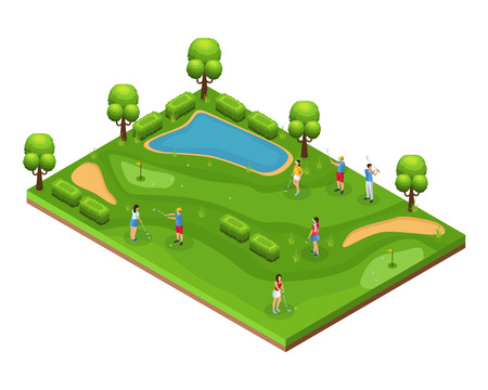 Isometric golf course concept with golfers playing on field flags holes green lawn trees and pond vector illustration