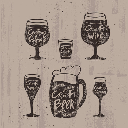 Hand drawn craft alcoholic drinks set with calvados chacha wine limoncello beer grappa beverages isolated vector illustration