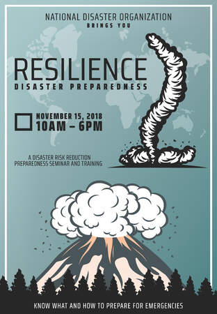 Vintage colored natural disaster poster with text volcano eruption and tornado on world map background vector illustration