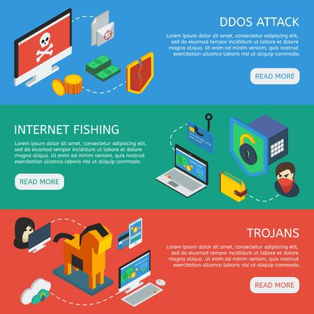 Isometric internet security horizontal banners with web servers attack internet fishing activity trojans and viruses vector illustration