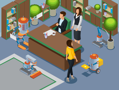 Isometric office of future concept with business mechanical assistants and robots cleaning carpet pouring plant brought letters vector illustration Illustration