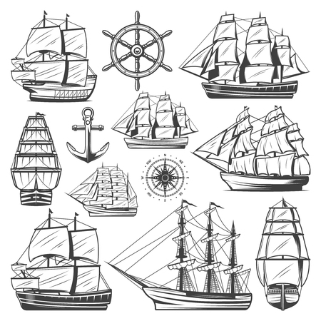 Vintage big ships collection with different vessels, boats, steering wheel anchor and navigational compass. Isolated vector illustration.
