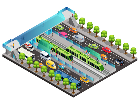 Isometric city traffic template with moving vehicles tramway people trees and pedestrian bridge across road isolated vector illustration Illustration