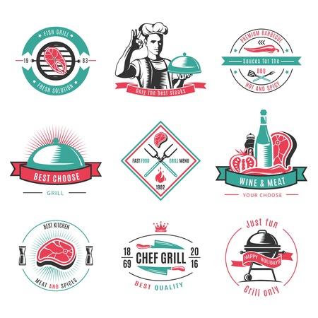 Vintage colored BBQ labels set Illustration