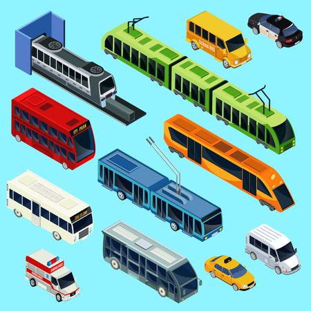 Isometric public transport set with van modern train tram buses trolleybus taxi ambulance police cars isolated vector illustration