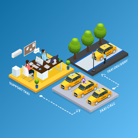 Isometric support taxi service concept with operators received calls from clients and cars for transportation isolated vector illustration