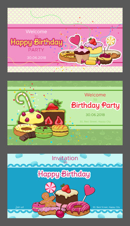 Bright birthday party horizontal invitation postcards with colorful desserts pastry sweet and baking products vector illustration