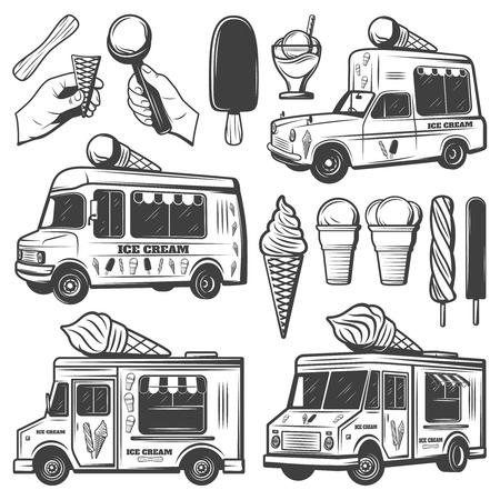 Vintage monochrome ice creams collection with different flavors ingredients sundae and delivery transport isolated vector illustration