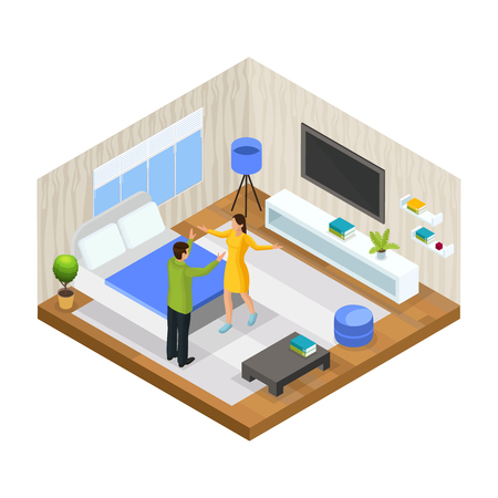 Isometric stress in family concept with husband is arguing with his wife at home isolated vector illustration