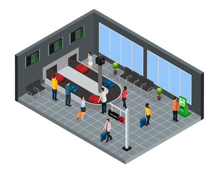 Isometric people in airport concept with passengers getting baggage from luggage carousel after arrival isolated vector illustration