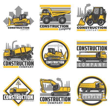 Weinlese färbte die Baufahrzeugembleme, die mit Planierraupenbagger-Betonmischer-Dumpgebäude-LKWs eingestellt wurden, lokalisierte Vektorillustration