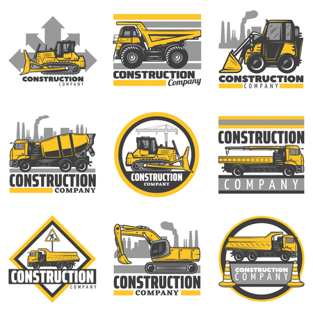 Vintage colored construction vehicles emblems set with bulldozer excavator concrete mixer dump building trucks isolated vector illustration Illustration