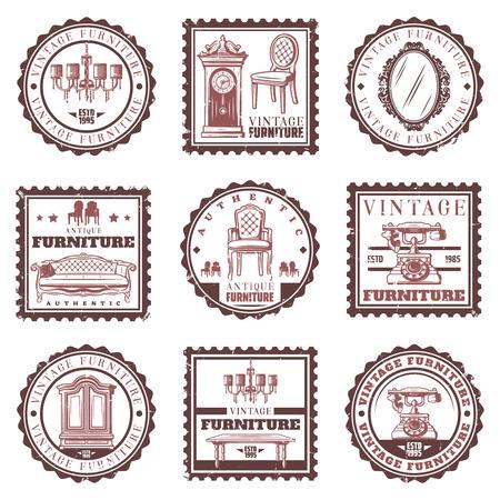 Vintage furniture stamps set with retro sofa chandelier.