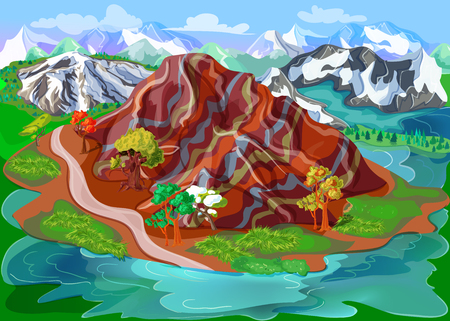 Bright beautiful nature scenery template with picturesque mountains rocks forest colorful trees and hills vector illustration