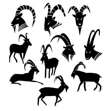 白背景分離ベクトルイラストに異なるポーズでモノクロ野生ヤギのシルエットコレクション