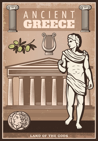 Vintage colored ancient Greece poster with greek coins olive branch harp columns and temple vector illustration