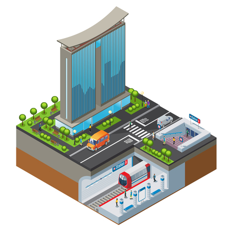 Isometric colorful cityscape concept with office building metro station trees cars and people isolated vector illustration