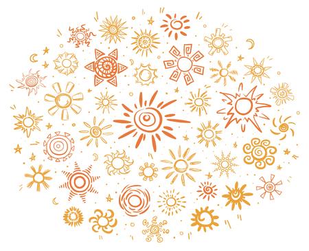 黄色とオレンジ色の孤立したベクトル図で異なる形の明るい太陽のアイコンの概念をスケッチ