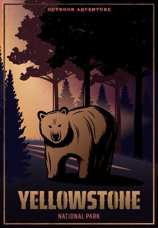 Cartel de color vintage del parque nacional de Yellowstone con inscripción y oso en la ilustración de vector de paisaje forestal Ilustración de vector